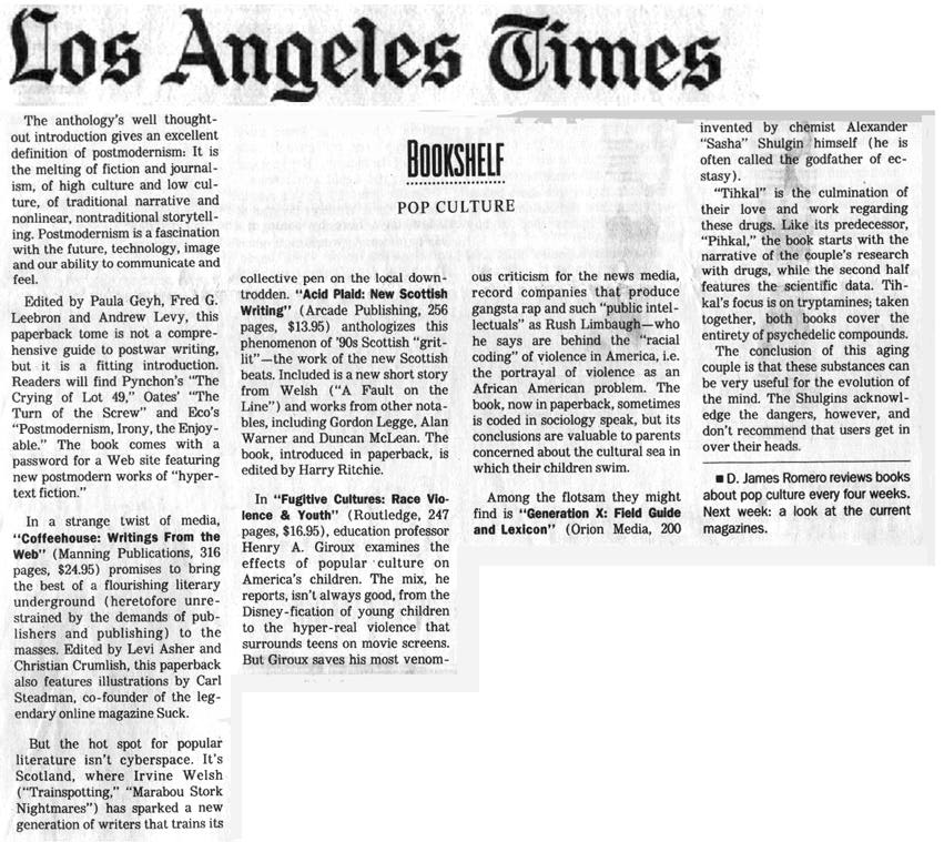 Los Angeles Times: Coffeehouse: Writings From The Web In Los Angeles Times